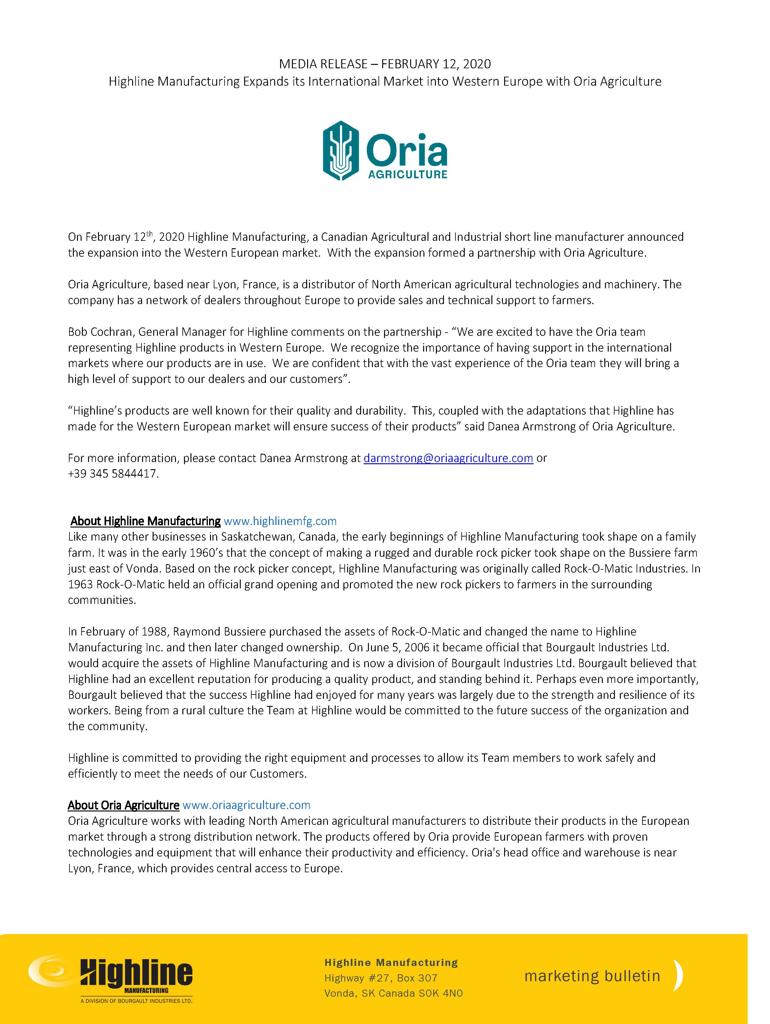News Release - Highline Manufacturing Expands its International Market into Western Europe with Oria Agriculture